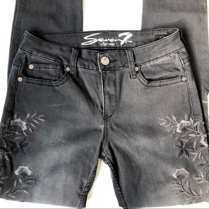 Seven7 Black Embroidered Skinny Jeans